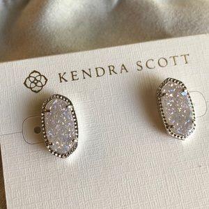 Kendra Scott Silver/Iridescent Drusy Stud Earrings